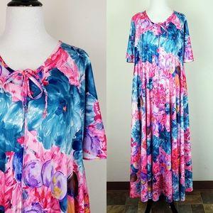 Vintage Granada Dress MuuMuu Floral Shiny